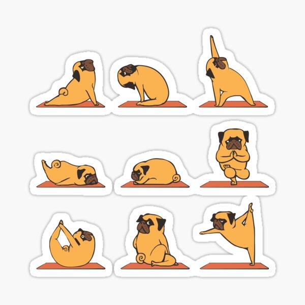 Yoga pug Pegatina