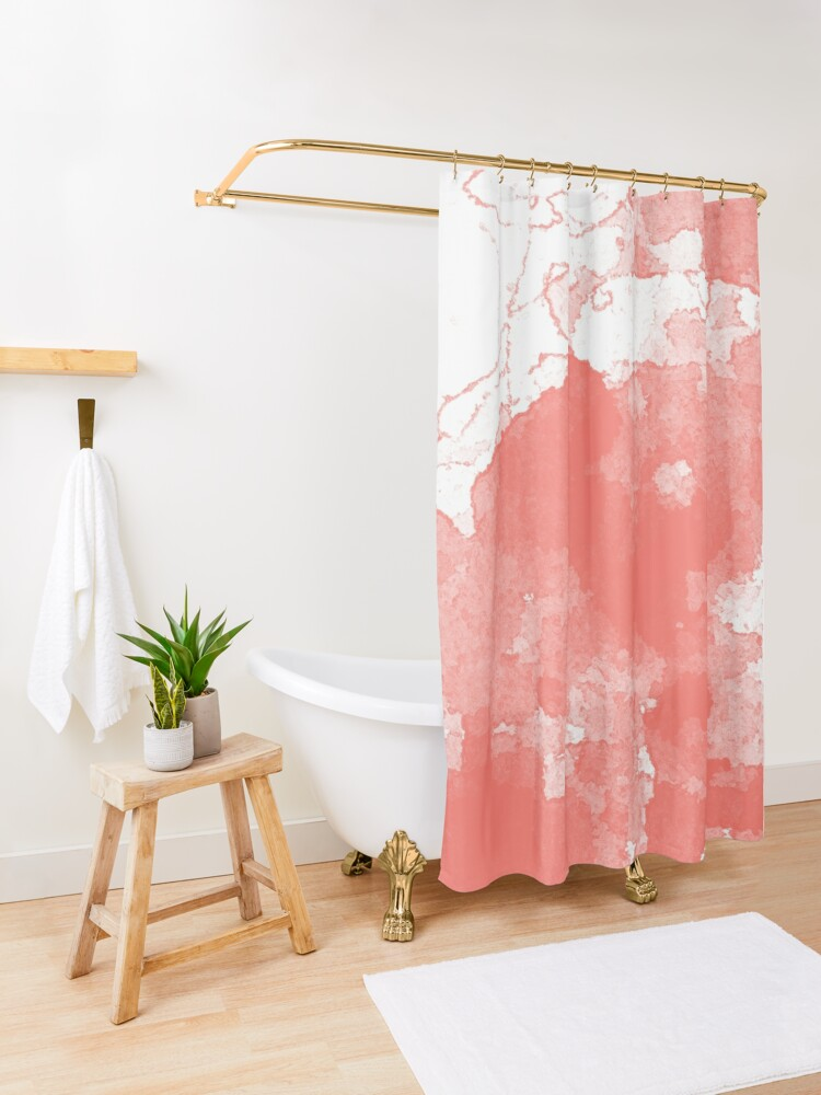 Alternate view of Living Coral Abstract Shower Curtain