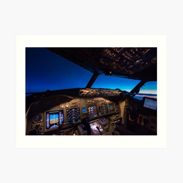 Boeing 737 Cockpit at sunrise Art Print