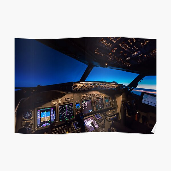 Boeing 737 Cockpit at sunrise Poster