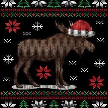 Merry Christmoose: Funny Christmas Moose Gift Pajama Deer T-Shirt by MrTStyle