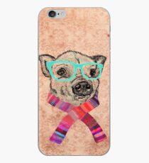 Vinilo o funda para iPhone Divertido lindo cerdo ilustración Teal gafas hipster