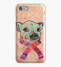Funny Cute Pig Illustration Teal Hipster Glasses iPhone Case/Skin