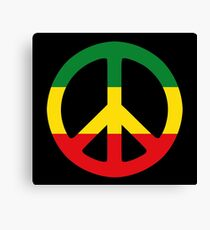 Peace - Rasta colours Canvas Print