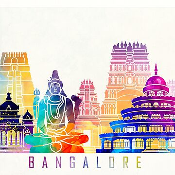 Bangalore landmarks watercolor poster by paulrommer