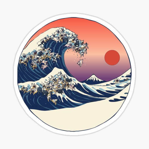 The Great Wave of French Bulldog Sticker