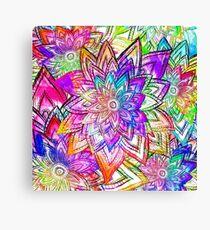 Colorful Vintage Floral Pattern Drawing Watercolor Canvas Print