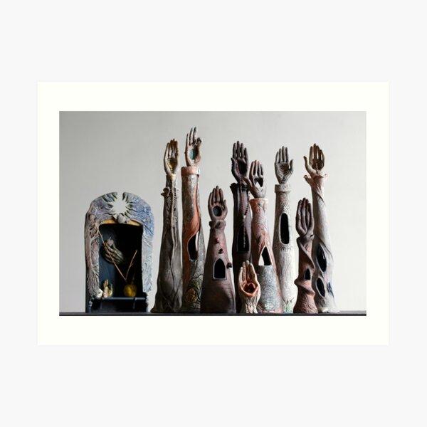 """Sacred Sangha"" - ceramic reliquaries, shrines & funeraires handbuilt by artist Mona Shiber  Art Print"