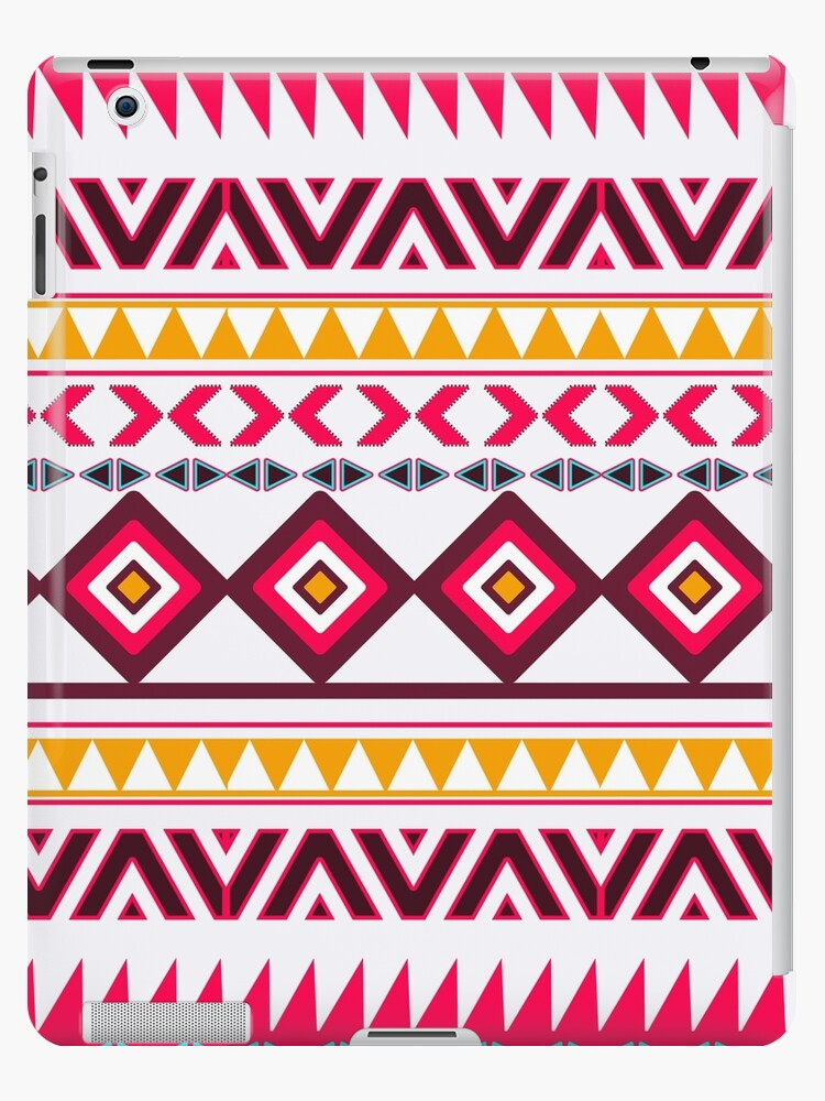'Red teal Aztec Tribal Diamond geometric Pattern' iPad Case/Skin by  GirlyTrend