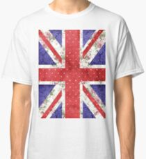 Vintage Red Polka Dots Floral UK Union Jack Flag Classic T-Shirt