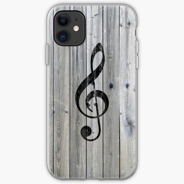 Vintage black music note Treble Clef gray wood iPhone Soft Case