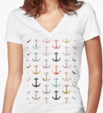 Vintage retro sailor girly floral nautical anchors Women's Fitted V-Neck T-Shirt