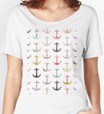 Vintage retro sailor girly floral nautical anchors Women's Relaxed Fit T-Shirt