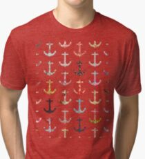 Vintage retro sailor girly floral nautical anchors Tri-blend T-Shirt