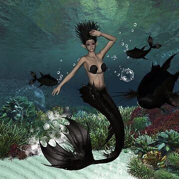 Wonderful dark mermaid with fantasy fish by nicky2342