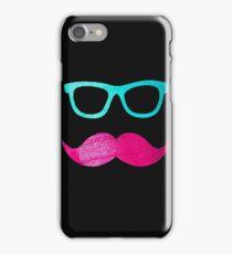 Funny Pink mustache teal hipster glasses Black  iPhone Case/Skin