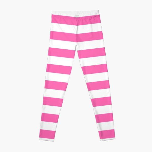 Hot Pink and White Horizontal Stripes Leggings