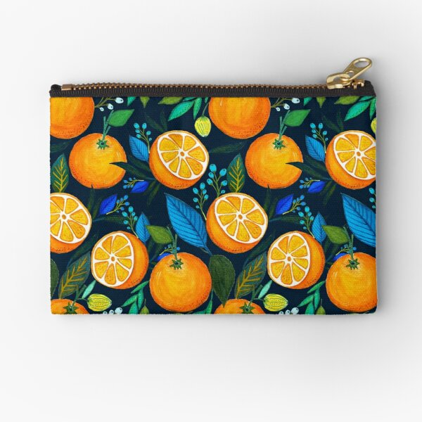 Orange Bloom Zipper Pouch