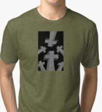 Spooky Scary Graveyard Headstones Tri-blend T-Shirt