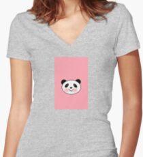 Panda Pinky Women's Fitted V-Neck T-Shirt