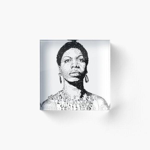 Nina Simone Portrait Famous Jazz Musician  Acrylic Block