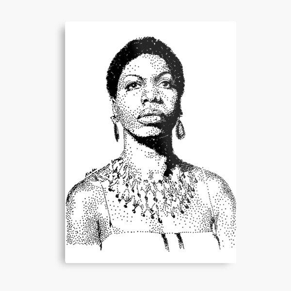 Nina Simone Portrait Famous Jazz Musician  Metal Print