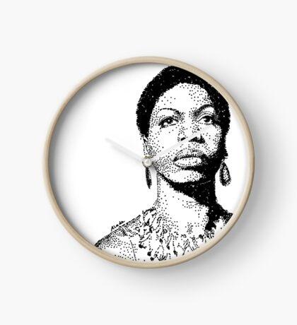 Nina Simone Portrait Famous Jazz Musician  Clock