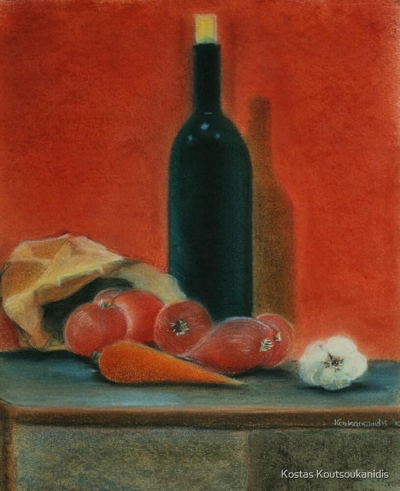 Onions, carrot,  garlic and a bottle of Wine...  by Kostas Koutsoukanidis