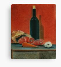 Onions, carrot,  garlic and a bottle of Wine...  Canvas Print