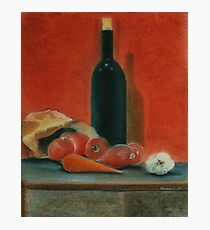 Onions, carrot,  garlic and a bottle of Wine...  Photographic Print