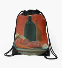 Onions, carrot,  garlic and a bottle of Wine...  Drawstring Bag