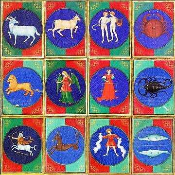 MEDIEVAL ZODIACAL SIGNS WITH CONSTELLATIONS ,ASTROLOGY  From Book Of Hours by BulganLumini