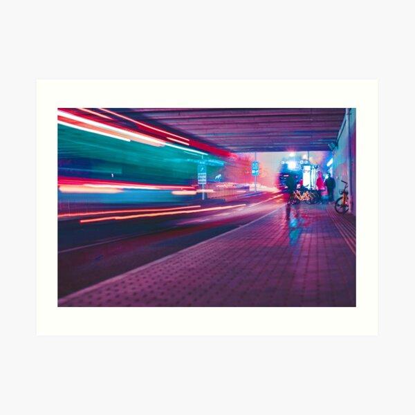 Cyberpunk Train Station Pink Art Print