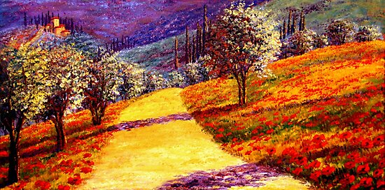 Road Through the Olive Grove Hill by sesillie