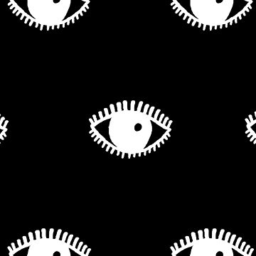 Eyes Hand Drawn Illustration Pattern, white on black by YLGraphics
