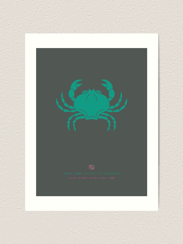Alternate view of Cancer Zodiac / Crab Star Sign Poster Art Print