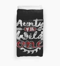 Aunty of the Wild One Shirt Lumberjack Woodworker Sawdust Buffalo Plaid measure once plaid pajamas cabinet maker contractor wood timber working tools Bettbezug