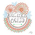 'Beautiful Chaos' Mandala Typography Illustration Coral by Alifya Designs