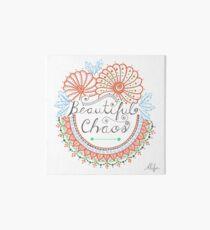 'Beautiful Chaos' Mandala Typography Illustration Coral Art Board