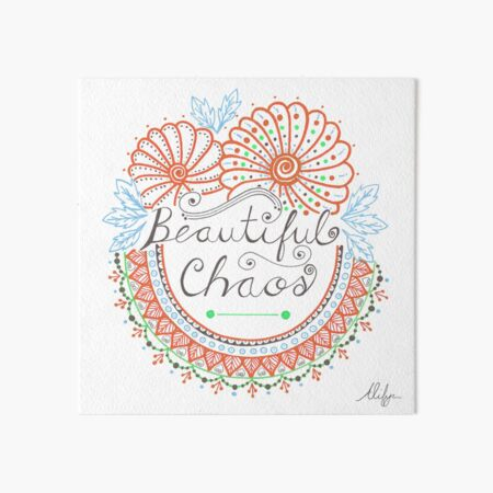 'Beautiful Chaos' Mandala Typography Illustration Coral Art Board Print