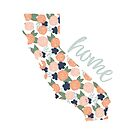 California is Home, Coral Floral Design by JordynAlison