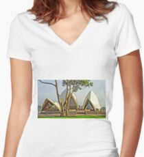 The tree in the yard next door Women's Fitted V-Neck T-Shirt