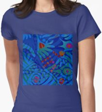 Colorful Tropical Print Abstract in Blue and Green Women's Fitted T-Shirt