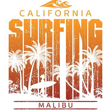 Vintage Malibu Surfing Beach Palm Tree Sunset Cool Vacation Souvenir by hlcaldwell