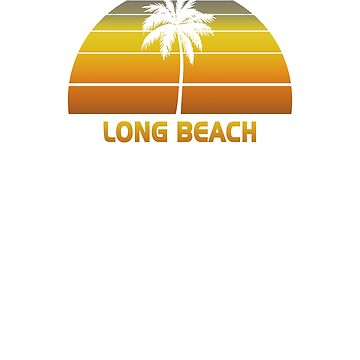 Vintage Long Beach Beach Palm Tree Sunset Cool Family Vacation Souvenir by hlcaldwell