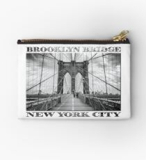 Brooklyn Bridge New York City (black & white with text on white) Zipper Pouch