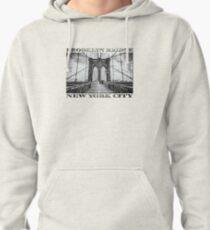 Brooklyn Bridge New York City (black & white poster edition on white) Pullover Hoodie