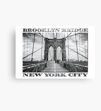 Brooklyn Bridge New York City (black & white with text on white) Metal Print