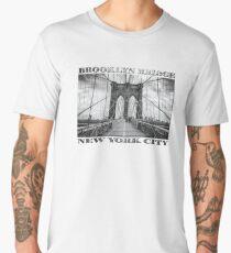 Brooklyn Bridge New York City (black & white poster edition on white) Men's Premium T-Shirt