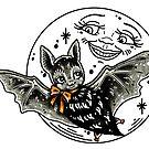 Halloween Bat with Moon by Ella Mobbs